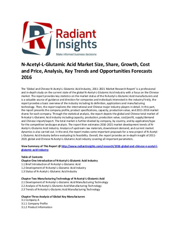 Consumer Goods Research Reports by Radiant Insights N-Acetyl-L-Glutamic Acid Industry