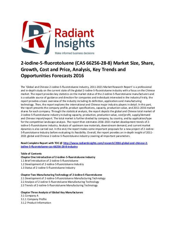 2-iodine-5-fluorotoluene Industry