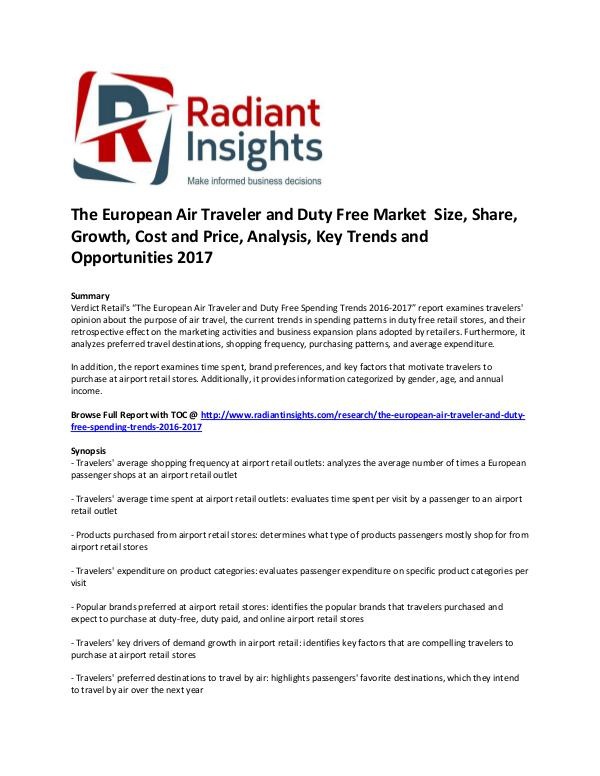 The European Air Traveler and Duty Free Market