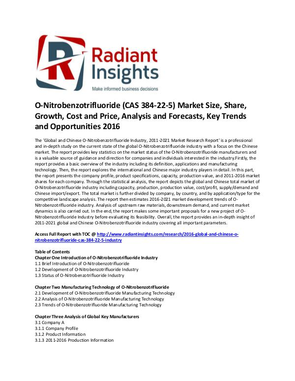 O-Nitrobenzotrifluoride Industry,