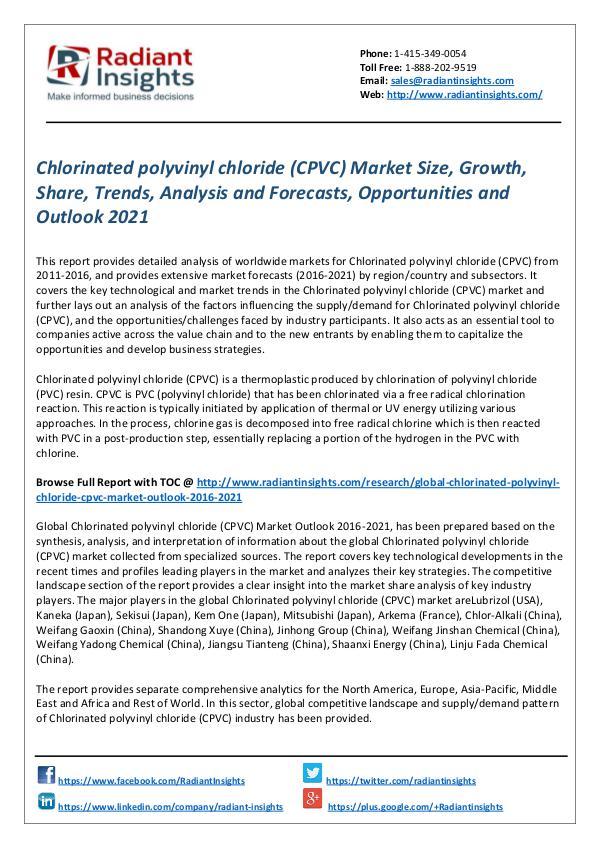 Chlorinated polyvinyl chloride (CPVC) Market