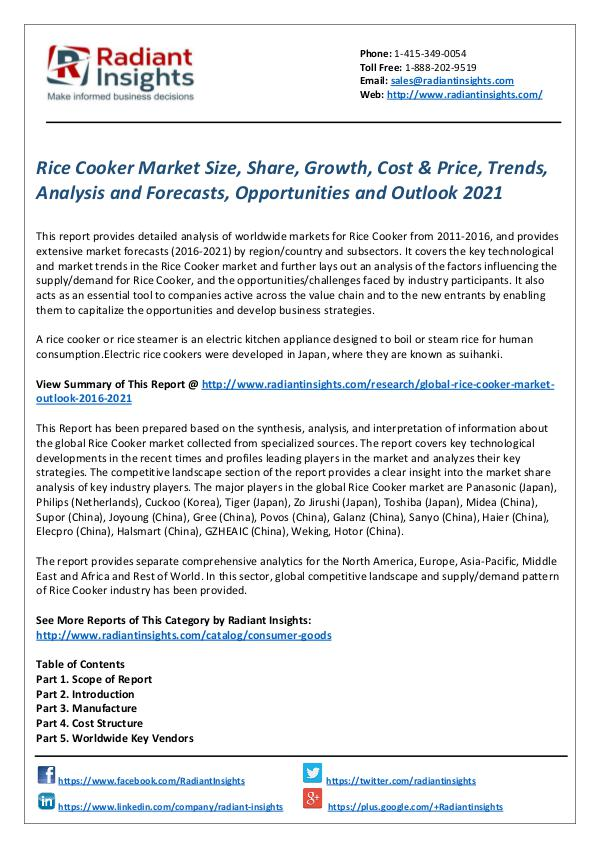 Consumer Goods Research Reports by Radiant Insights Rice Cooker Market