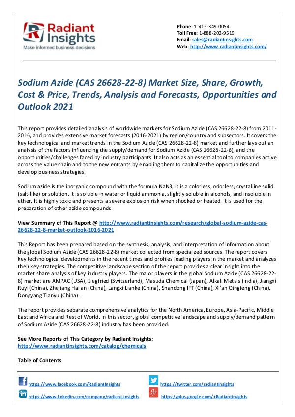 Chemicals and Materials Research Reports Sodium Azide (CAS 26628-22-8) Market