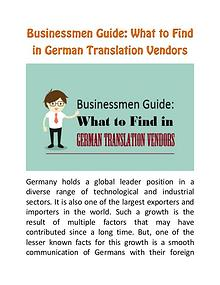 Businessmen Guide: What to Find in German Translation Vendors