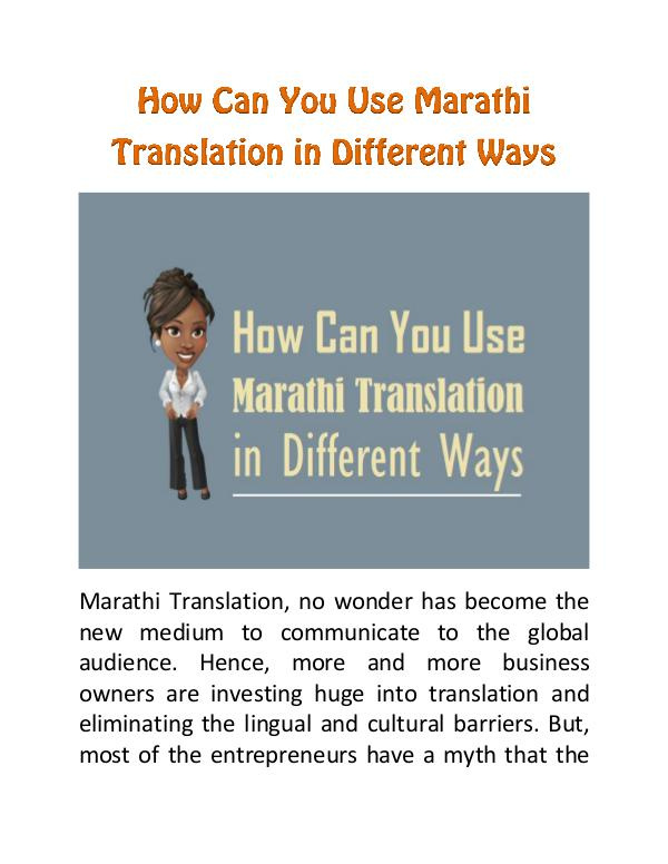 How Can You Use Marathi Translation in Different Ways How Can You Use Marathi Translation in Different