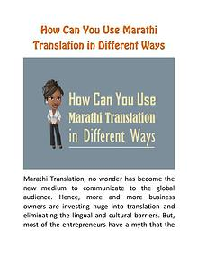 How Can You Use Marathi Translation in Different Ways