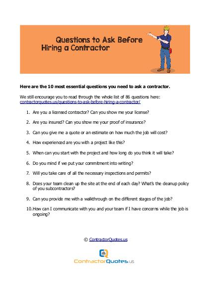 Questions to ask a contractor Questions to ask a contractor
