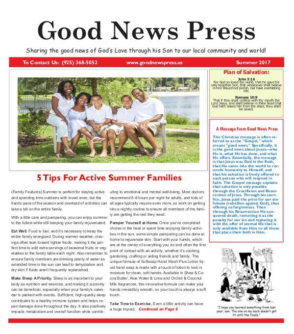 Good News Press Summer 2017 Good News Press Summer 2017