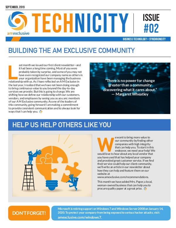 AM Exclusive Technicity Newsletter Issue 2