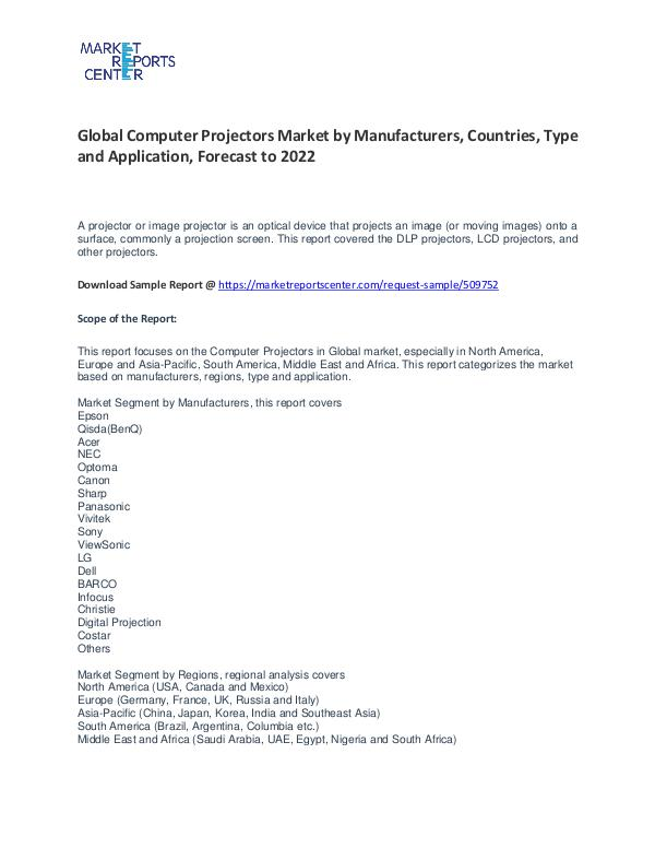 Computer Projectors Market By Trends, Growth, Demand and Forecast Computer Projectors Market