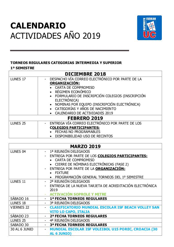 Deporte Escolar UC Calendario Deporte Escolar UC