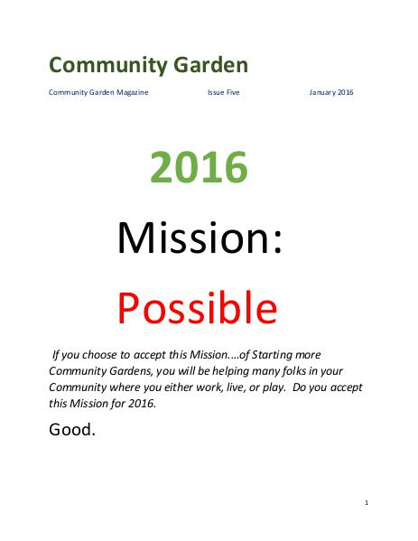 Community Garden Magazine Issue Five January 2016