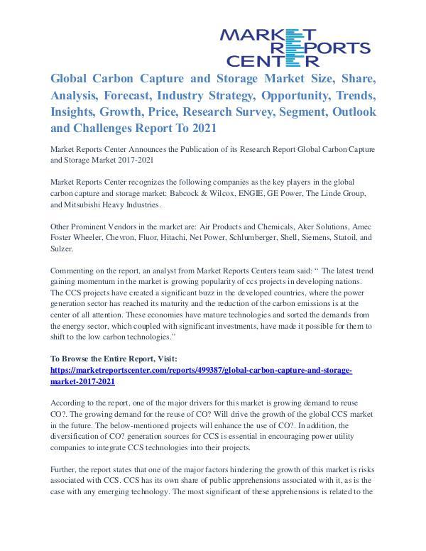 Carbon Capture and Storage Market Major Players Analysis Till 2021 Carbon Capture and Storage Market