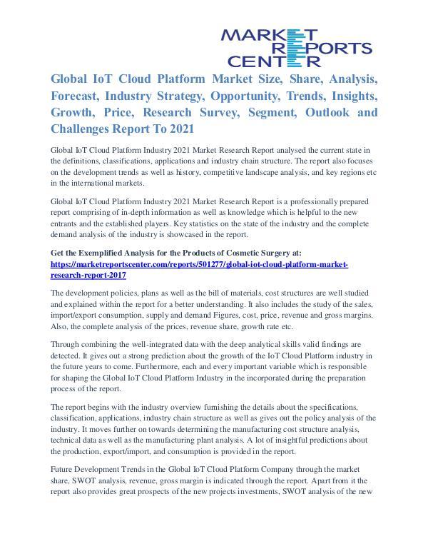 IoT Cloud Platform Market Future Trends And Industry Analysis To 2021 IoT Cloud Platform Market