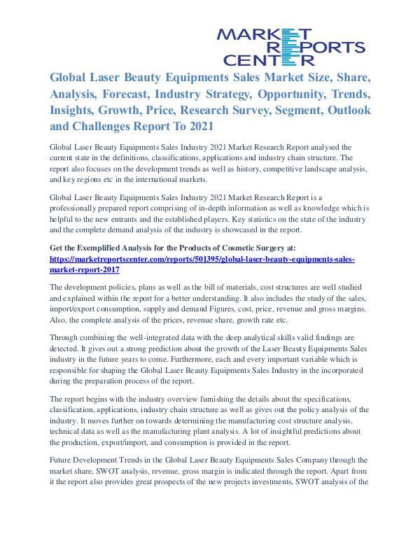 Laser Beauty Equipments Sales Market Trends Analysis To 2021 Laser Beauty Equipments Sales Market