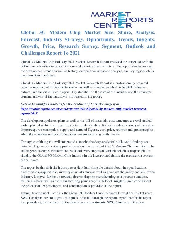 3G Modem Chip Market Business Outlook and Procurement Survey To 2021 3G Modem Chip Market