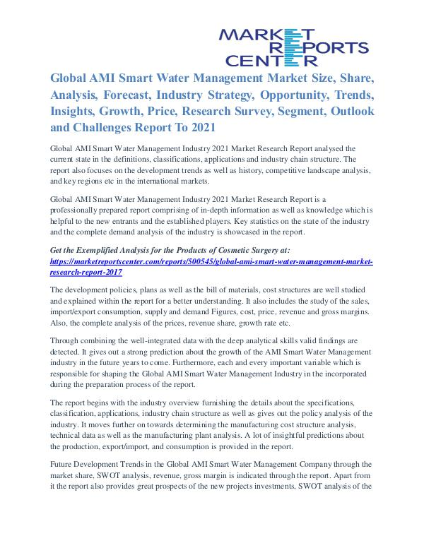 AMI Smart Water Management Market Future Trends And Analysis To 2021 AMI Smart Water Management Market