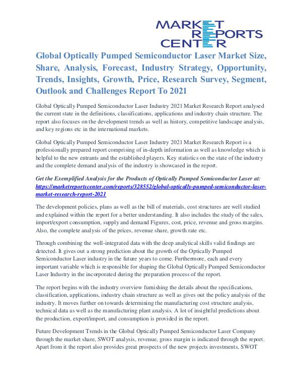 Optically Pumped Semiconductor Laser Market Future Growth To 2021 Optically Pumped Semiconductor Laser Market