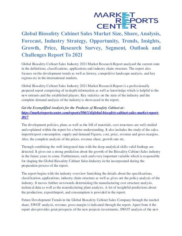 Biosafety Cabinet Sales Market Analysis, Industry Size & Trends 2021 Biosafety Cabinet Sales Market