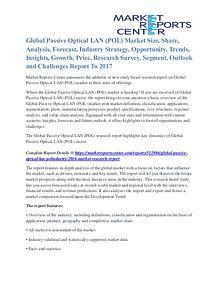 Passive Optical LAN (POL) Market Key Vendors, Driver, Challenge 2017