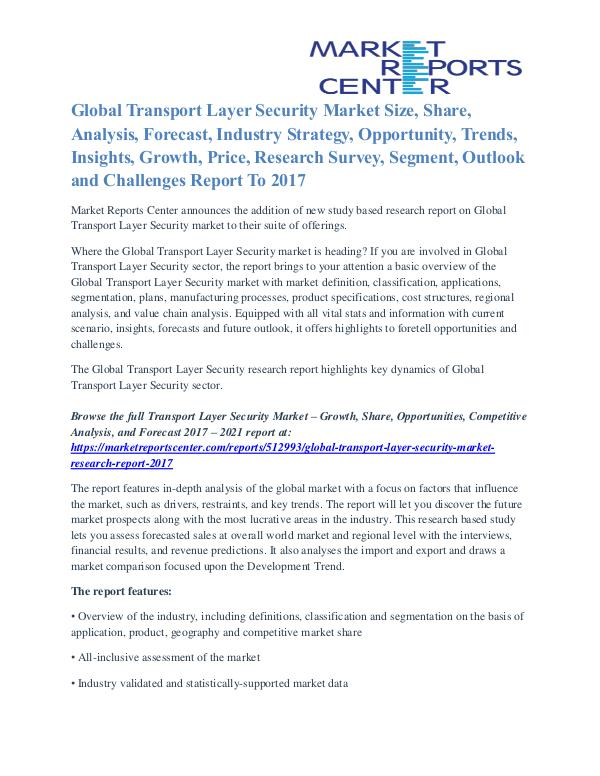 Transport Layer Security Market Share, Supply And Consumption To 2017 Transport Layer Security Market