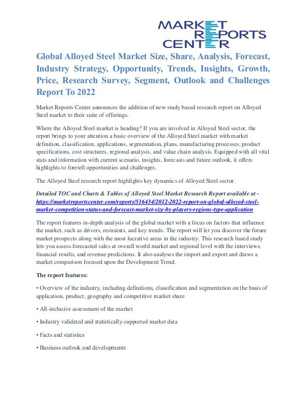 Alloyed Steel Market Growth Drivers & Detailed Analyses By 2022 Alloyed Steel Market