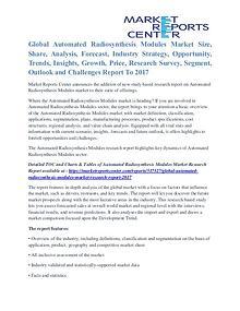 Automated Radiosynthesis Modules Market Segmentation To 2017