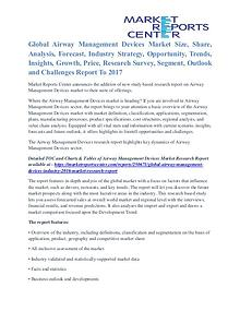 Airway Management Devices Market Analysis, Growth Opportunities 2017