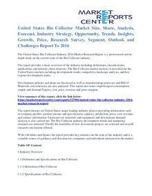 United States Bio Collector Market Share, Size, Emerging Trends 2016