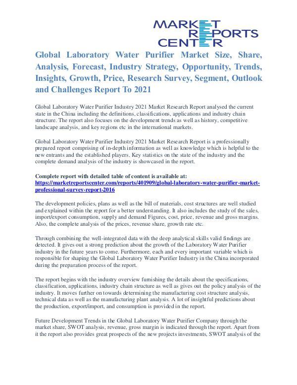 Laboratory Water Purifier Market Size, Application Potential To 2016 Laboratory Water Purifier Market