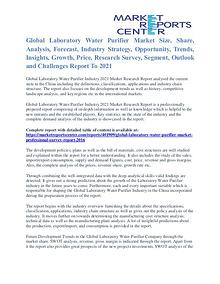 Laboratory Water Purifier Market Size, Application Potential To 2016