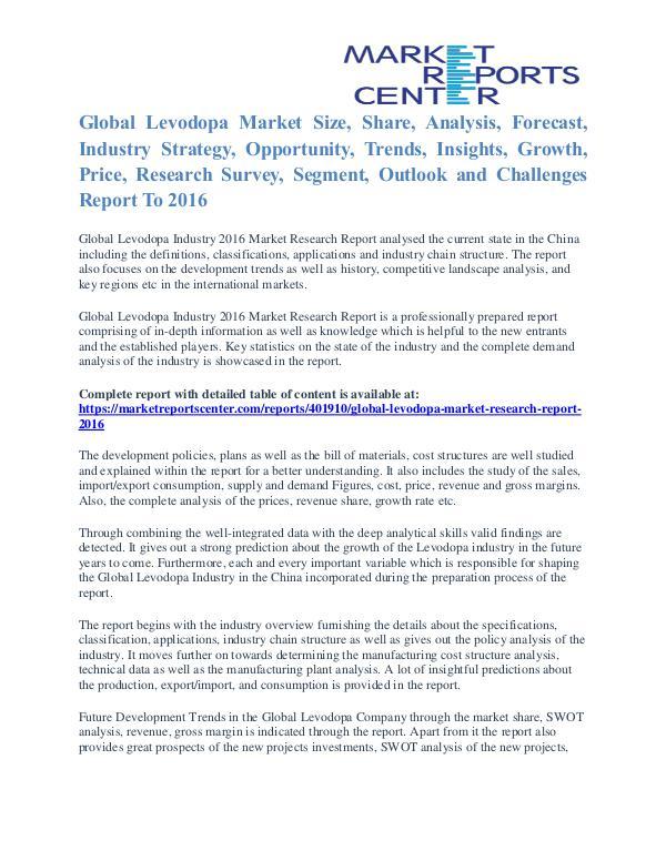 Levodopa Market Size, Industry Analysis Report To 2016 Levodopa Market