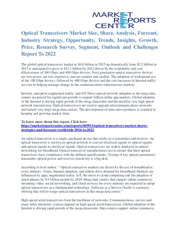 Optical Transceivers Market Size Report To 2022 Optical Transceivers Market