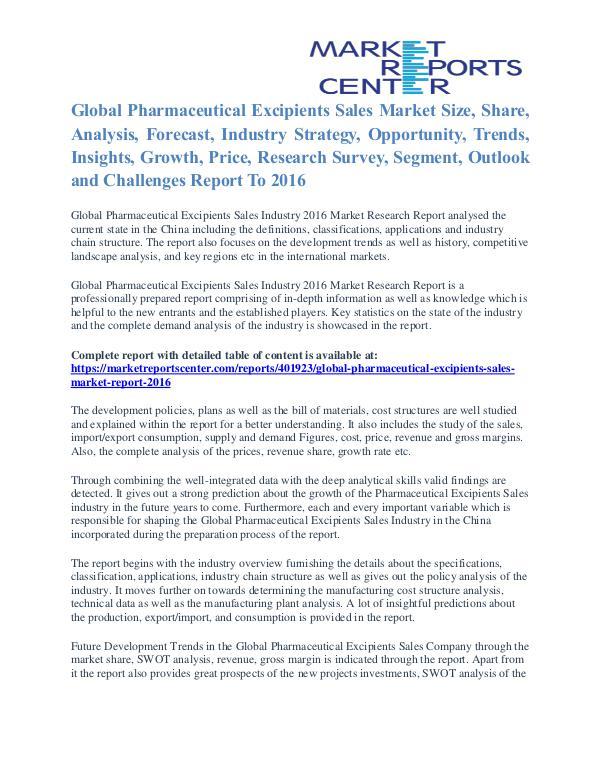Pharmaceutical Excipients Sales Market Outlook And Research 2016 Pharmaceutical Excipients Sales Market