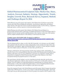 Pharmaceutical Excipients Sales Market Outlook And Research 2016