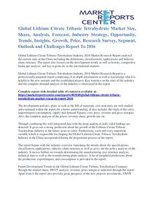 Lithium Citrate Tribasic Tetrahydrate Market Share & Forecast To 2016