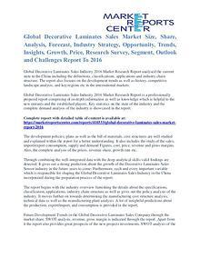 Decorative Laminates Sales Market Cost and Revenue Report To 2016