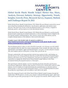 Sterile Plastic Handle Scalpel Market Application And Segment To 2021