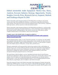 Automobile Audio Equipment Market Value and Segmentation Trends 2016