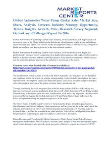 Automotive Water Pump Gasket Sales Market Share & Forecast To 2016