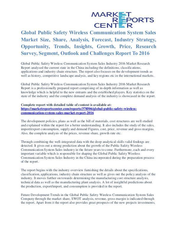 Public Safety Wireless Communication System Market Size To 2016 Public Safety Wireless Communication System Sales