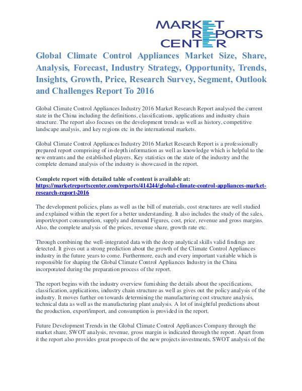 Climate Control Appliances Market Share, Size, Emerging Trends 2016 Climate Control Appliances Market