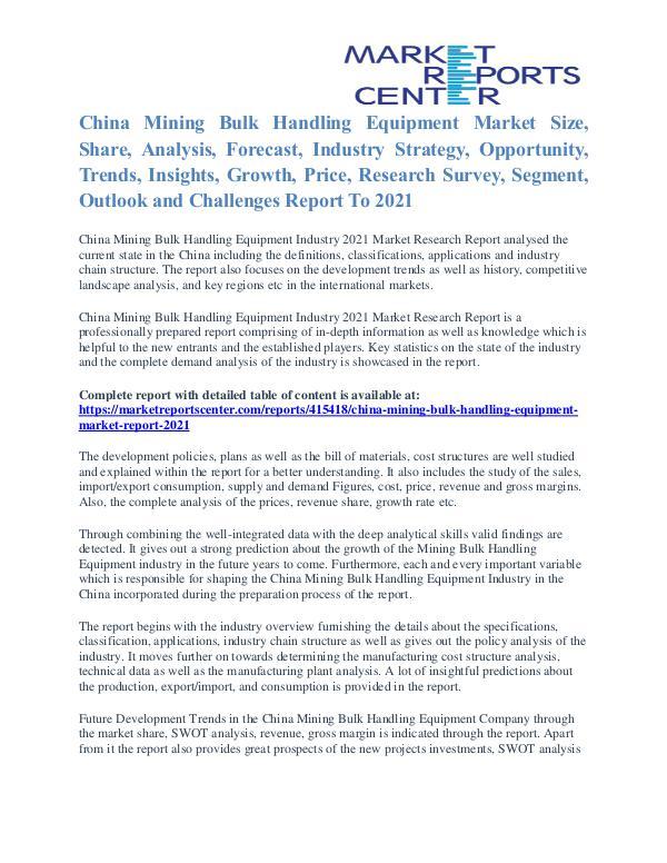 China Mining Bulk Handling Equipment Market Report 2021 China Mining Bulk Handling Equipment Market