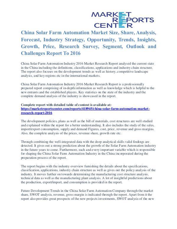 China Solar Farm Automation Market Segmentation And Trends To 2016 China Solar Farm Automation Market