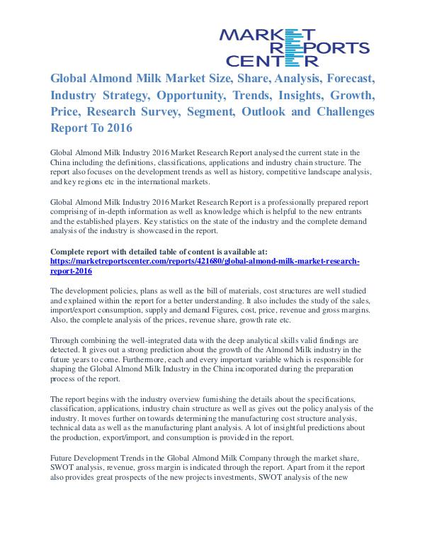 Almond Milk Market Price and Gross Margin Analysis To 2016 Almond Milk Market