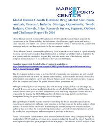 Human Growth Hormone Drug Market Size, Application And Segment 2016