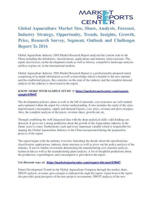 Aquaculture Market Price Trends And Segment Forecasts To 2016 Aquaculture Market