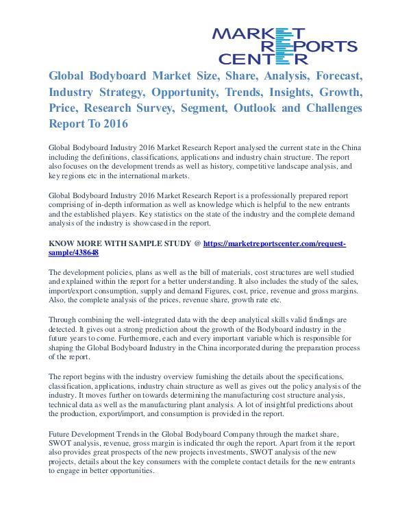 Bodyboard Market Growth, Trends, Industry Analysis and Forecast 2016 Bodyboard Market