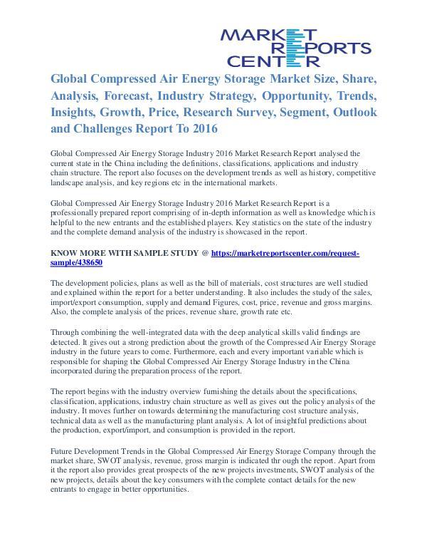 Compressed Air Energy Storage Market Size, Share, Growth, Trends 2016 Compressed Air Energy Storage Market