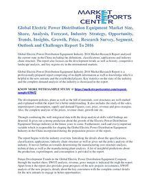 Electric Power Distribution Equipment Market Segment Report To 2016